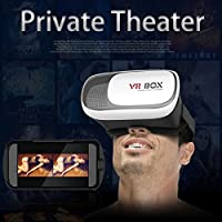 """FLFLK 3D VR Virtual Reality Headset 3D Video Movie Game Glasses For 3.5~6.0"""" Smartphones iPhone 6/6 plus Samsung Galaxy IOS Android Cellphones + Controller (Black+White) from FLK Tech"""