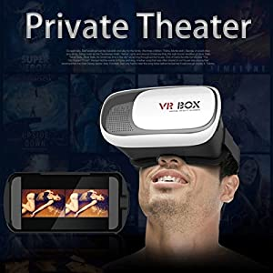 "FLFLK 3D VR Virtual Reality Headset 3D Video Movie Game Glasses For 3.5~6.0"" Smartphones iPhone 6/6 plus Samsung Galaxy IOS Android Cellphones + Controller (Black+White) from FLK Tech"