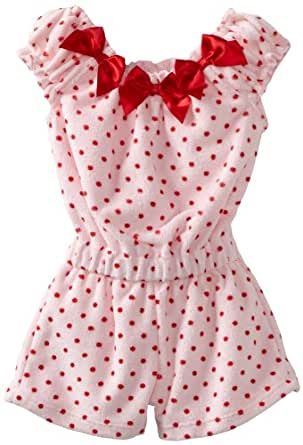 ABSORBA Baby Girls' Polka Terry Knit Rompers, Pink, 18