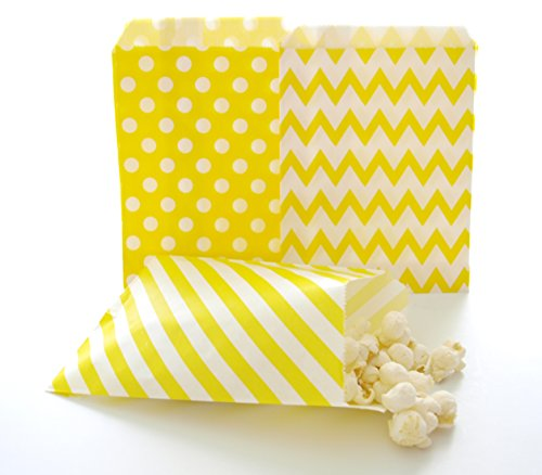 Yellow Candy Bags, Decorative Paper Bags, Summer Wedding Goody Bags, Party Treat Bags, 75 Pack - Yellow Striped, Polka Dot & Chevron Bags (Clear Garment Bags 16x25 compare prices)