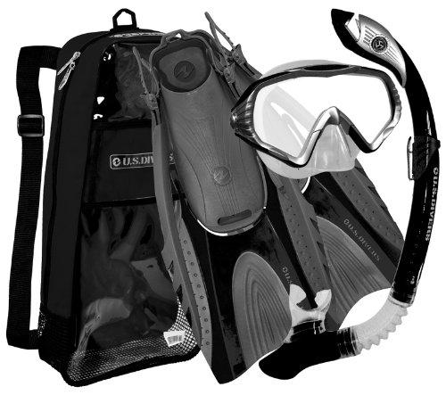 U.S. Divers Adult Starbuck II Purge LX Mask/Paradise Dry LX Snorkel/Hingeflex II Fins/Pro Bag ,Large / X Large (Men 9-13, Women 10-14)