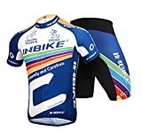 INBIKE Men's Summer Breathable Cycling Jersey and 3D Silicone Padded Shorts Set Outfit, Navy, (US)XL-(CN)XXXL