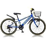 Raychell(レイチェル) 24インチジュニアマウンテンバイク シマノ6段変速 カゴ・カギ・ライト・前後泥除け標準装備 CTB-246R ブルー
