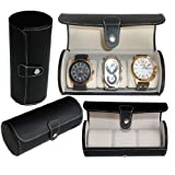 Leatherette Roll Travelers Watch Storage Organizer for 3 Watch, Black