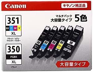 Canon インク カートリッジ 純正 BCI-351XL(BK/C/M/Y)+BCI-350XL 5色マルチパック 大容量タイプ BCI-351XL+350XL/5MP