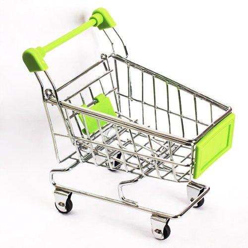 Vktech Mini Shopping Cart Supermarket Handcart Shopping Utility Cart Mode Storage Toy (Green)