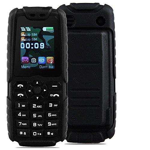Padgene Outdoor SOS Handy Große Tasten Mobiltelefon Super Lang Standbyzeit Ohne Vertrag Blockhandy für Alter Senior mit Taschenlampe Kamera (LR-Schwarz)