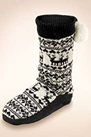 Reindeer & Fair Isle Print Slipper Socks with Wool [T60-5556-S]