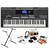 Yamaha PSR-E433 61-Key Portable Keyboard Bundle with Yamaha X-Style Stand, Power Adapter and Studio Headphones (Includes 2 Year Extended Warranty)