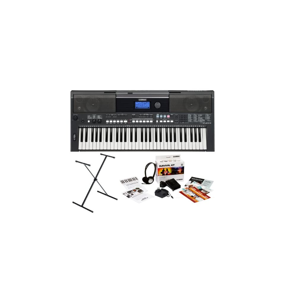 Yamaha PSR E433 61 Key Portable Keyboard Bundle with Yamaha X Style Stand, Power Adapter and Studio Headphones (Includes 2 Year Extended Warranty) Musical Instruments