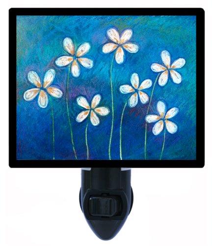 Floral / Flower Night Light - Snowdrops On Blue - Led Night Light front-1068115