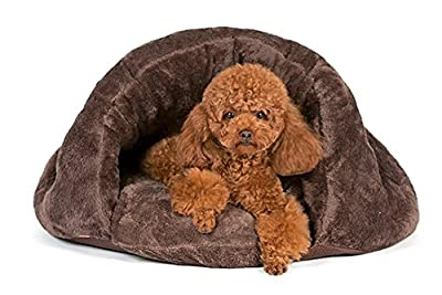 Cuddle Pouch Pet Bed, Bag, Covered Hooded Pet Bed, Cosy, For Burrower Cats and Puppies Super Plush, Thermal, Water, Wind, Oil and Urine Resistant, Durable, High Reinforced Sides, Heavy Duty Non Skid Bottom Top Quality, Non Allergenic Materials 2 Colours a