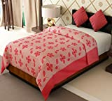 Home Candy Flowers and Leaves Cotton Single Bed Duvet Cover with Zipper - Pink