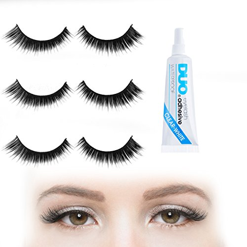 9fd0c685381 Depth & Length Volume Cat-eye Fake Eyelashes Set with Duo Clear Glue | 6 X  Strip Wispies for Your Ultimate Eye Makeup Look - Black False Eyelashes 3  Pairs ...