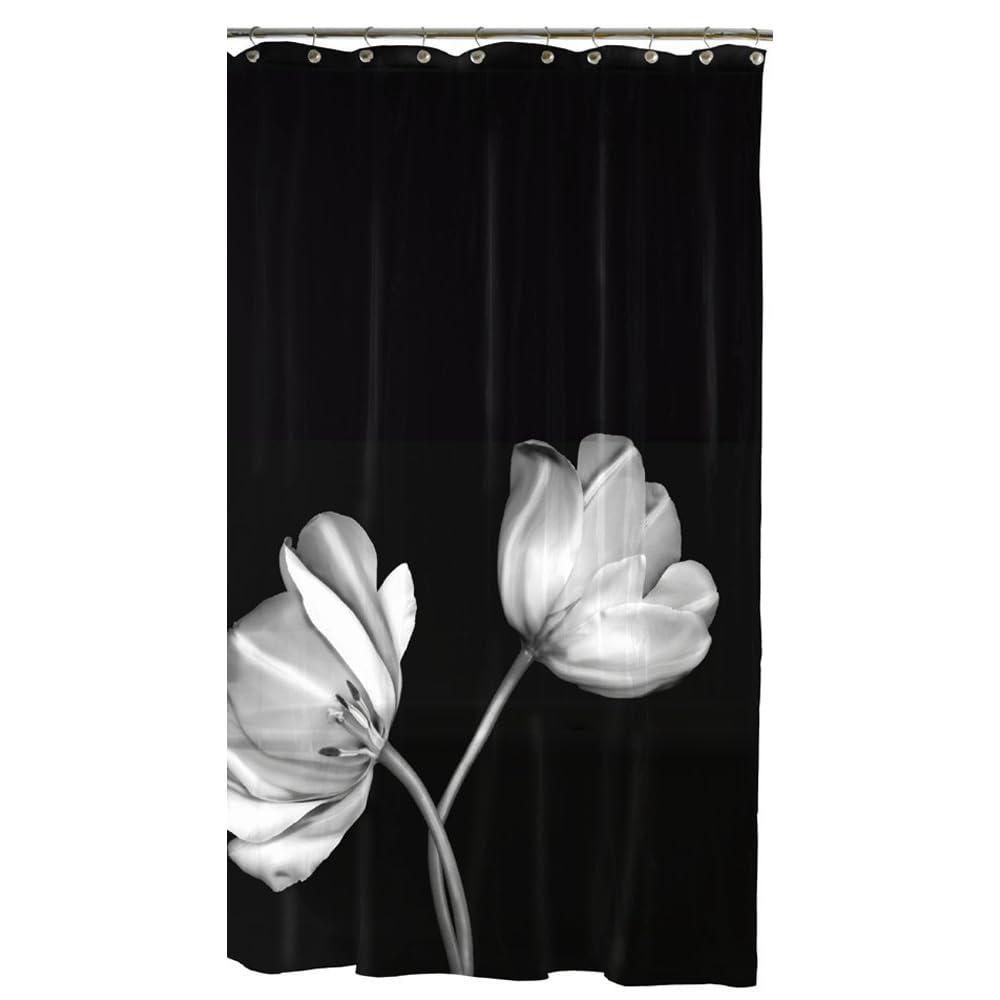 Black White Flowers Shower Curtains Flower Power Shower Curtains