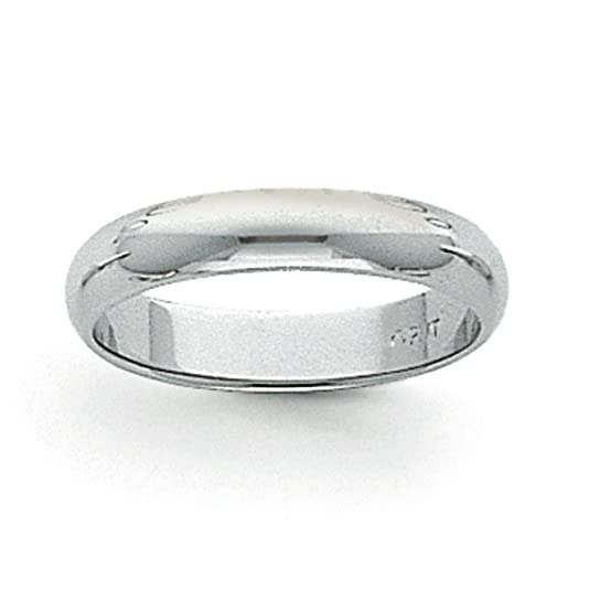 Platinum 4mm Half-Round Wedding Band Ring - Size U 1/2