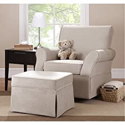 Kelcie Swivel Glider & Ottoman,Model:WM108D-SGO /Clean lines for contemporary styling /color :Beige