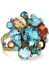 "Sorrelli ""Tropical"" Swarovski Bold Crystal Cluster Adjustable Gold-Tone Ring"