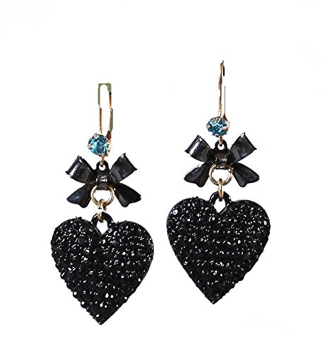 Hearts ! Black Enamel Hearts & Bows With Blue Jewel Leverbacks Drop Earrings In Gift Box & Organza Bag front-1006225