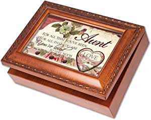 cottage garden aunt woodgrain music box jewelry box plays amazing grace toys games. Black Bedroom Furniture Sets. Home Design Ideas