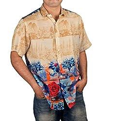 Riverbero Men's Casual Shirt (SN_DHS_225_Yellow_42)