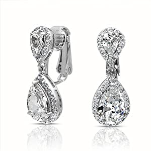 Bling Jewelry CZ Clear Double Teardrop Clip On Bridal Dangle Earrings Crown Setting