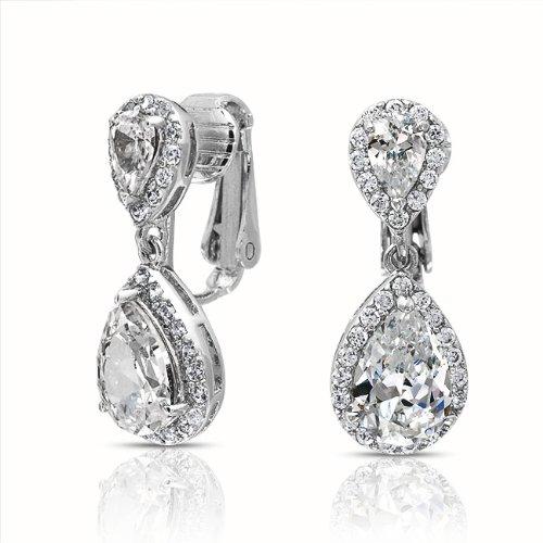 Bling Jewelry CZ Clear Double Teardrop Clip On Bridal Dangle Earrings Crown Set