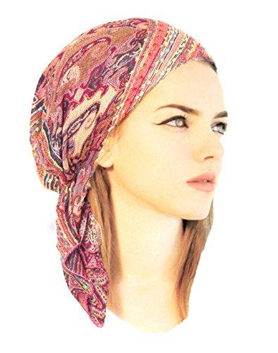 [Boho Chic Pre-tied Headwear Versatile Ties Cool Knit Pashima Ethnic Print Collection (Magenta short -] (Ethnic Hats)