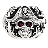 Adams Vintage 925 Sterling Silver Punk Eye Skull Pirate Captain Ring With Red Cubic Zirconia R7 Size R