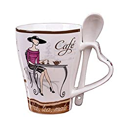 New Fashion Elegant Pattern Design Funny Cups And Mugs High Quality Ceramic Female Coffee Mug Tea Cup Design A