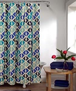 stoff duschvorhang muster blau t rkis dunkelblau beige k che haushalt. Black Bedroom Furniture Sets. Home Design Ideas