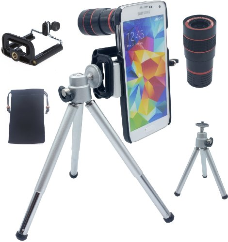 Lesung®8X Magnifier Zoom Aluminum Universal Manual Focus Telephoto Telesocpe Phone Camera Lens Kit With Tripod For Iphone 4 4S 5 5S 5C Itouch Samsung Galaxy S3/I9300/S4/I9500/S5/Note 1/2/3(Black)