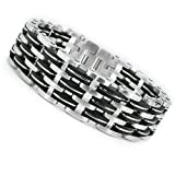 Triple Row Stainless Steel Men's Rubber Biker Bracelet 85