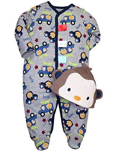 Taggies Transportation Print Baby Boys Romper And Monkey Hat front-1066254