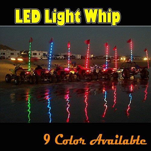 TheOne® LED Lighted Whips Single Color LED Safety Light FlagPoles LED Sand Flag Antenna Light for Sand /Dunes/ Off- Road Vehicle/ ATV /Utv /Motor Homes (Red, 6FT(1.8m))