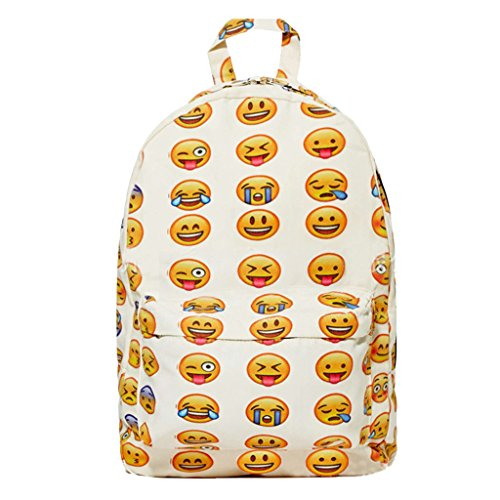 Unisex Emoji Printed Canvas School Bag Smiling Backpack Travel Bag LxWxH 10.2x3.1x14.2inch
