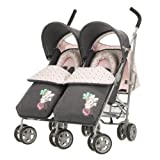 Obaby Apollo V2 Twin Stroller with Footmuffs - Retro Minnie Denim