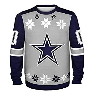 NFL Dallas Cowboys Almost Right But Ugly Sweater, Medium, Gray