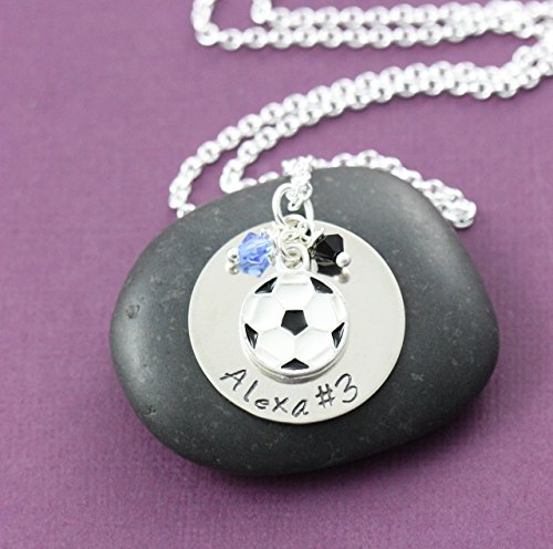 Personalized Soccer Necklace - DII - Sports Mom Jewelry - Handstamped Handmade - 1 Inch 25.4MM Disc - Custom School Colors - Customize Name and Number - Fast 1 Day Shipping (Little Feet Necklace compare prices)