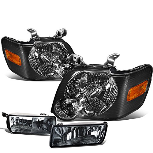 Ford Explorer/Sport Trac U251 Pair of Smoked Lens Amber Corner Headlights+Smoked Fog Lights (Ford Explorer Xlt Headlights compare prices)