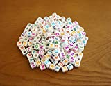 DIY アルファベットビーズ 可愛いカラフル文字 [100個][200個][300個]セット 6mm 手作り手芸 Loom Bands refill Pack Letter beads for Loom bands (200個)