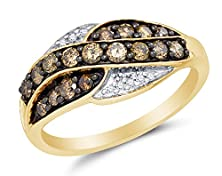 buy Size 8.5 - 10K Yellow Gold Chocolate Brown & White Round Diamond Fashion Ring - Channel Setting (.57 Cttw.)
