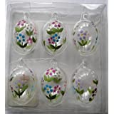 Pretty Daisy Glass Easter egg ornaments set of 6by CGB