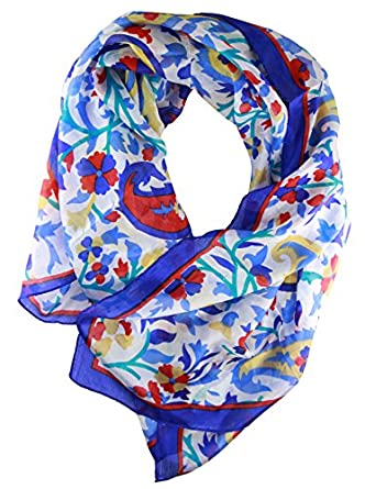 SouvNear Mother's Day Gifts - Infinity Silk Fashion Scarves - Anytime Summer / Spring Scarf Blue Red & Pink - Women & Girls - Best Gifts for Mom