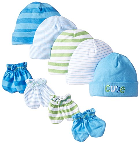 Gerber Baby-Boys Newborn 5 Pack Caps (0-6 months) and 4 Pack Mitten (0-3 months) Bundle,Car and Stripe,Newborn (Newborn Cap compare prices)