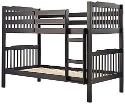 abcFurnish ABUNK3 Children's Bed (Melamine Finish, Black)