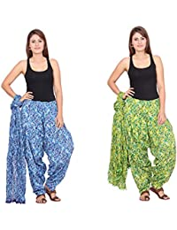 Rama Set Of 2 Abstract Print Blue & Green Colour Cotton Full Patiala With Dupatta Set
