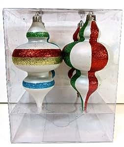 Martha Stewart Shatterproof Christmas Ornament Set,4 Pieces,long Bulbs,colorful Glitter Stripes