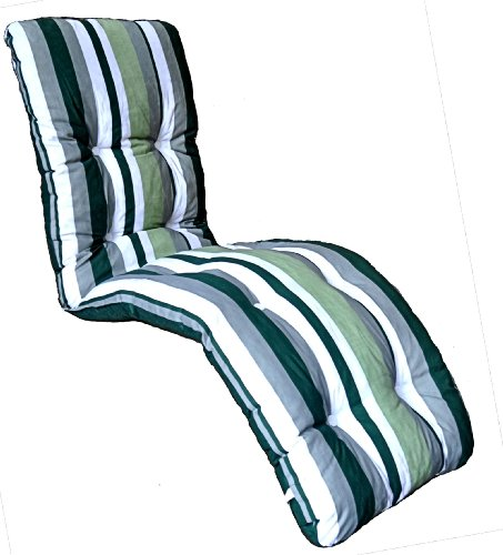 Brand New Replacement Garden Recliner Relaxer Chair Cushion Green Stripe Pattern
