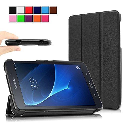 Infiland Samsung Galaxy Tab A 7.0 Funda Case-Ultra Delgada Tri-Fold Smart Case Cover PU Cuero Smart Cascara con Soporte para Samsung Galaxy Tab A 7.0 17,8 cm (7 Pulgadas)Tablet-PC(Negro)